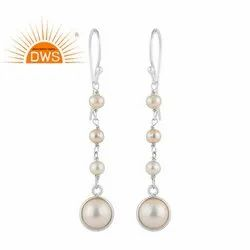 White Pearl Gemstone Fine Sterling Silver Long Dangle Earrings