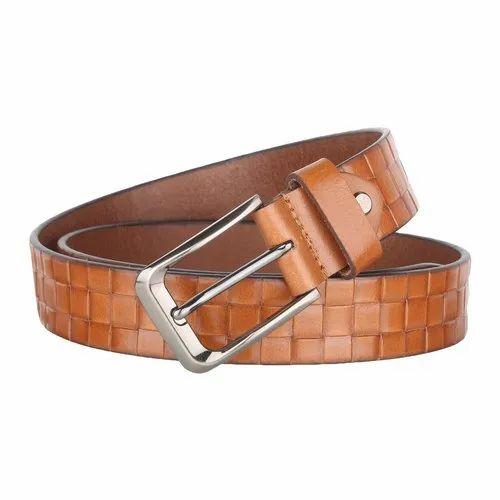 Mens Tan Designer Leather Belt