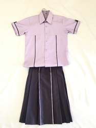 Polyester Cotton Plain Girls School Uniform Shirt And Skirt