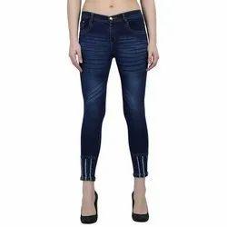 Skinny Zipper Ladies Ankle Blue Jeans