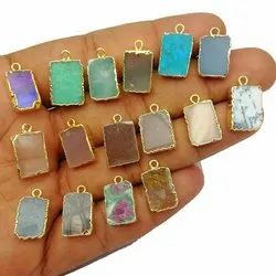 Semi Precious Gemstone Slice Connector Charms