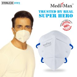 Medi-Max N95 BIS/ISI, DRDO Certified  Face Mask Without Valve (With Headloop)