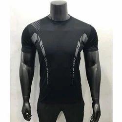 Printed Black Sports T-Shirts