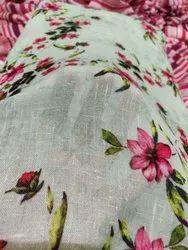 Printed Digital Prints Fine Summer Linen Fabric, GSM: 100-150