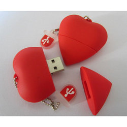 Heart Shaped PVC 4GB Pen Drive