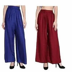 Rayon Solid Color Casual Wear Ladies Palazzo Pants