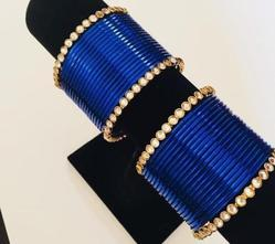 Party Wear Ladies Blue Metal Bangle