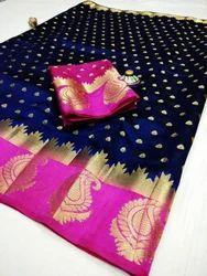Tussar Silk Party Wear Saree, Length: 6.3 m