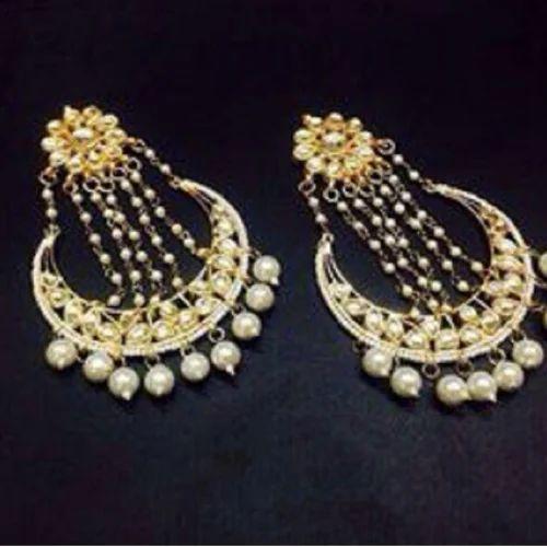 Women Party Wear Gold Kundan Fashion Earrings Set