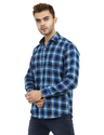 Blue Color Solid Check Shirt