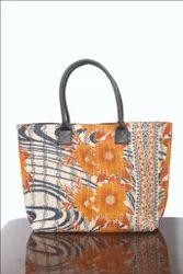 Printed Kirti Textiles & Handicrafts Floral Cotton Kantha Bag Indian Vintage Tote Bag, Size: 18x20 Inch