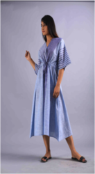 Yarn Dyed Striped Kaftan Style With Tie Laces Kurti