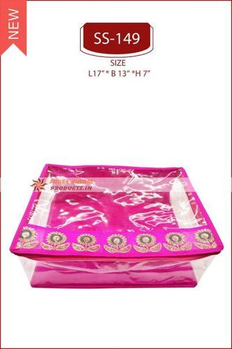 Red and Pink Silk Base Silk Box Saree Cover, Size/Dimension: 17 x 13 x 7 Inches
