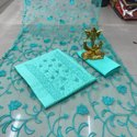 Unstitched Blue Dabka And Sippi Work Ladies Cotton Suit, Machine Wash