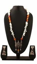 SPJ041 Oxidized Adorned Gemstone Beads Krishna Temple Pendant