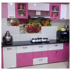 Pink And White Wood Kitchen Furniture Rs 1500 Square Feet Lucky