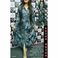 Rayon Casual Wear Ladies Long Frock Kurti, Handwash