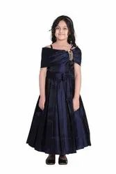 Satin Blue Adiva Girls Party Wear Gown Dress For Kids, Size: 26-36