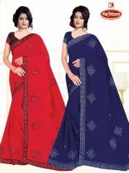 Bridal Dyed Embroidery & Diamond Work Saree With Lace - Gun Master 09