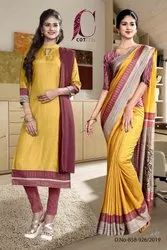 Womens Uniform Sarees And Salwar Kameez Combo