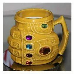 Yellow Ceramic Freakmall Thanos Gauntlet Coffee Mug, Size/Dimension: 400 mL