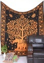 Goldren Tree With Elephant Wall Tapestry