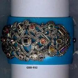 Silver Diamond Victorian Bangle