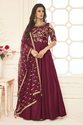 Silk Red Floor Length Embroidered Semi-stitched Anarkali Suit
