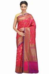 Hand Woven Magenta Khadi Banarasi Dupion Pure Silk Sarees