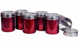 Set of 6 Maroon color Kitchen storage canisters with see thr