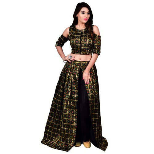 ce6e7f1de733 Black And Golden Ladies Crop Top With Skirt, Rs 8075 /piece | ID ...