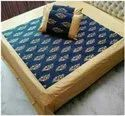 Hand Block Gold Print Double Bed Sheet 90x108