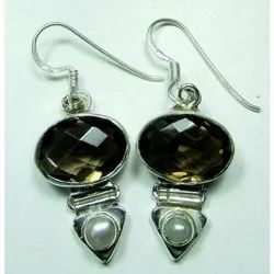 Smokey with Pearl 925 Sterling Silver High Fashion Earring