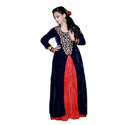 Ladies Blue And Red Indo Western Dress