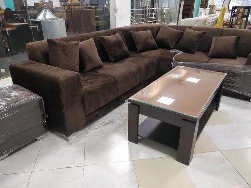 L Shape Brown Corner Sofa Set Size 7, What Size Is A Corner Sofa