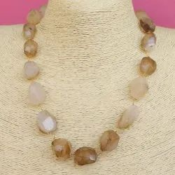 Onyx Assorted Tumbled Faceted Necklace for Female, Size: 18-20 Inches
