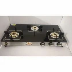 Three Burner Glass Top Gas Stove, Model Name/Number: GT03
