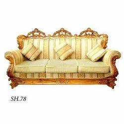 Wood 3 Seater SH 78  Wooden Designer Sofa Set, For Home