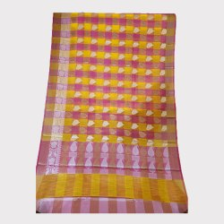 Fancy Linen Yellow Pink Saree