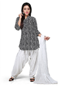 Vastra Vinod Black And White Cotton Readymade Patiala Suit
