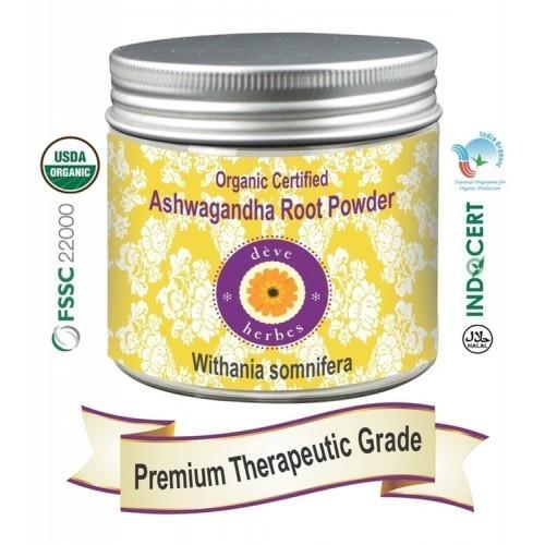 Deve Herbes Pure Ashwgandha Powder (Withania somnifera)Organic Certified 100% Natural Therapeutic