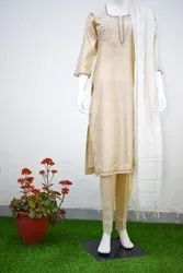CHANDERI HAND EMBROIDERED THREE PIECE SUIT