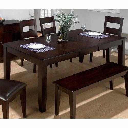 Dark Brown Teak Wood Dining Table Set