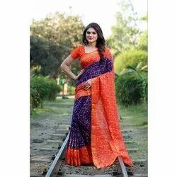 Shree Balaji Casual Wear Bandhani Design Art Silk Saree, 6.3 meter With Blouse Piece
