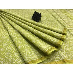 Green Maheshwari Saree with Blouse