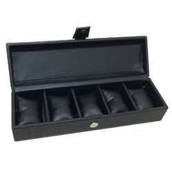 Omax 5 Watch Slots Watch Box (Black)