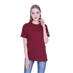 Ribbons and Mustache Women's Maroon Plain Cotton T Shirt
