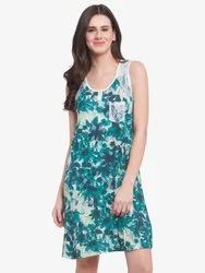Women Viscose Martini Green Printed Short Nighty