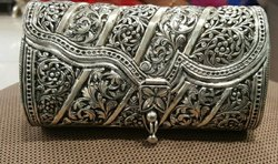 Party Clutch Bag Silver Purse, Size: 6