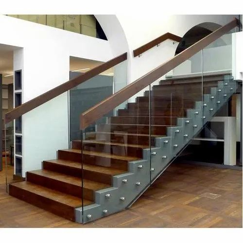 Wood Glass Stair Railing at Rs 700/square feet   Glass ...